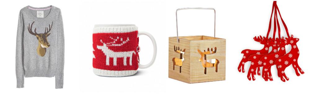 Sweter z łosiem i inne świąteczne dekoracje w skandynawskim stylu.