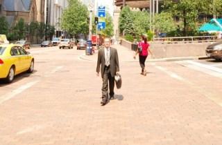 street one man briefcase