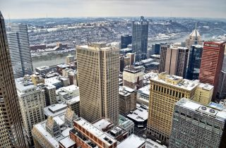 Pittsburgh winter cityscape