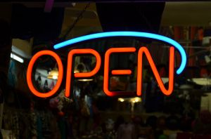 Open sign lighted