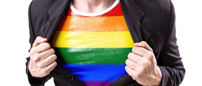 LGBT rainbow shirt under suit jacket