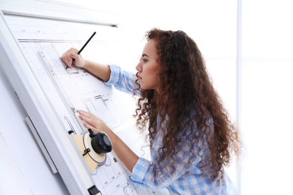 female architect working on design
