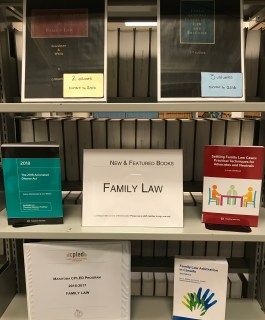 "A book display with six books, on three levels of a bookcase. In the middle is a sign that says ""New and featured books: Family Law"". Book titles are in the blog post."
