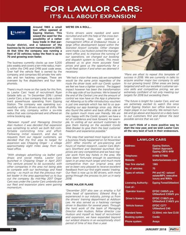 Lawlor Taxis Essex in PHTM Magazine