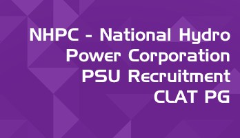NHPC 2020 PSU recruitment CLAT 2020 PG Law Officer E2 notification LawMint