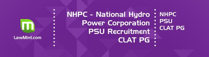 NHPC 2020 PSU recruitment CLAT 2020 PG Law Officer E2 notification LawMint
