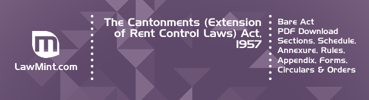 The Cantonments Extension of Rent Control Laws Act 1957 Bare Act PDF Download 2