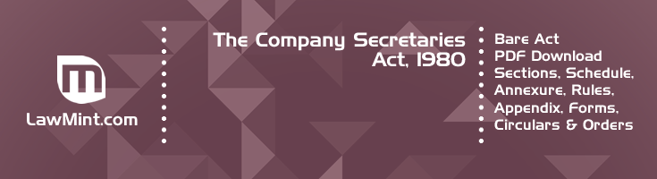 The Company Secretaries Act 1980 Bare Act PDF Download 2