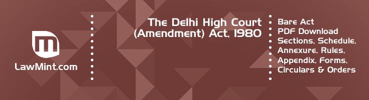 The Delhi High Court Amendment Act 1980 Bare Act PDF Download 2