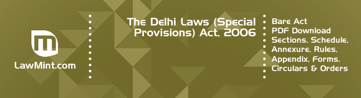 The Delhi Laws Special Provisions Act 2006 Bare Act PDF Download 2