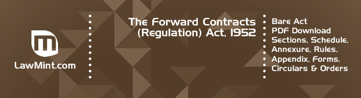 The Forward Contracts Regulation Act 1952 Bare Act PDF Download 2