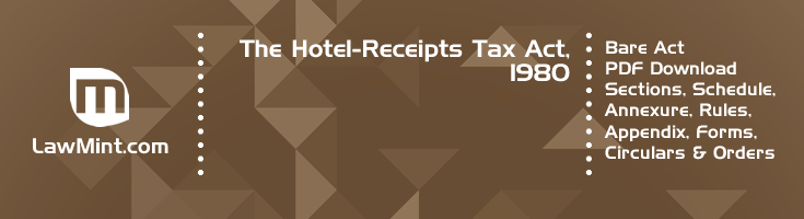 The Hotel Receipts Tax Act 1980 Bare Act PDF Download 2