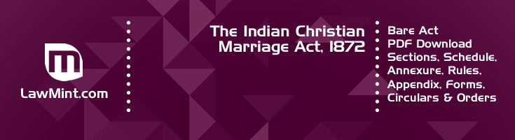 The Indian Christian Marriage Act 1872 Bare Act PDF Download 2