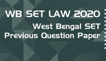 WB SET Law 2020 Previous Question Paper Mock Test Model Paper Series