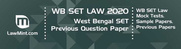 WB SET Law 2020 Previous Question Paper Mock Test Model Paper Series