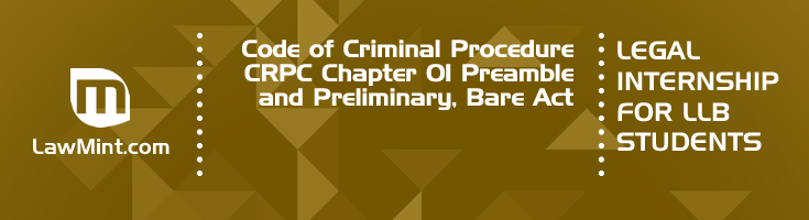 Code of Criminal Procedure CRPC Chapter 01 Preamble and Preliminary Bare Act