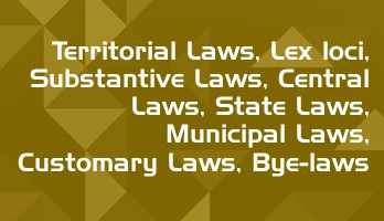 Territorial Laws Lex loci Substantive Laws Central Laws State Laws Municipal Laws Customary Laws Bye laws