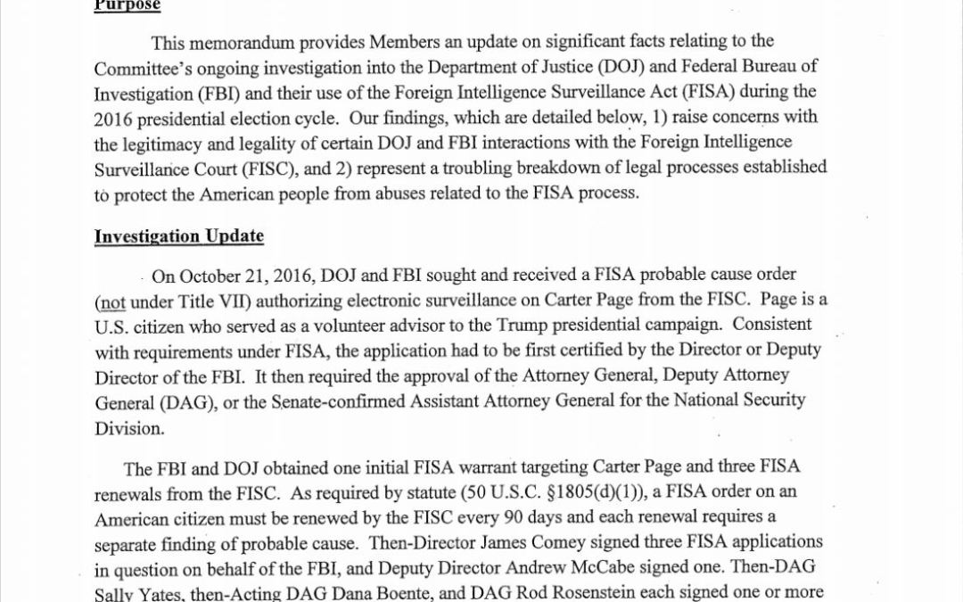 4-Page FISA Memo, Bigger Than Watergate — Read it!