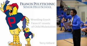 An image of alleged child molester Terry Gillard with the logos of Francis Polytechnic where the alleged abuse happened.