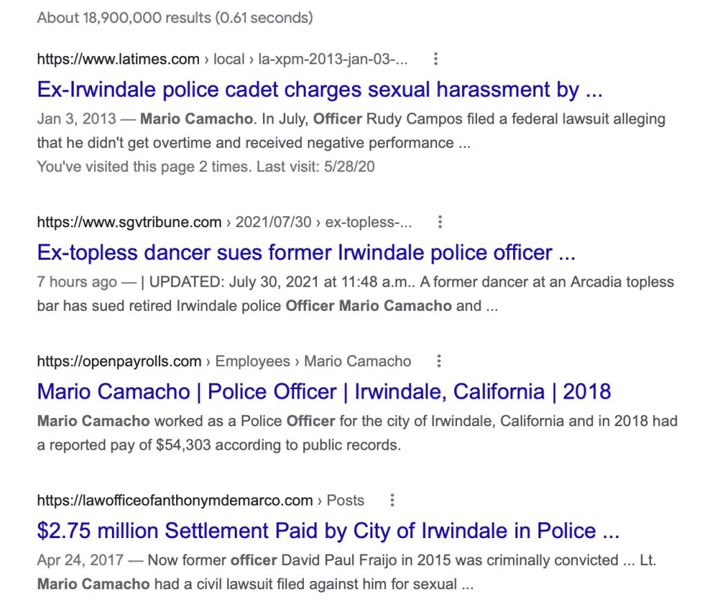 Officer Mario Camacho Irwindale Sex
