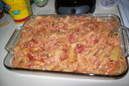 Baked Ziti w. Hint of Chicken Casserole
