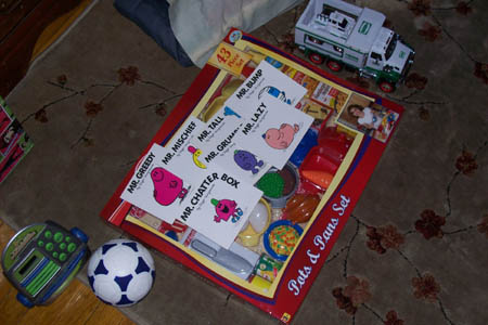Christmas toys and books