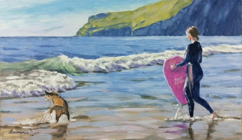 Trebarwith Surfer and Dog Print
