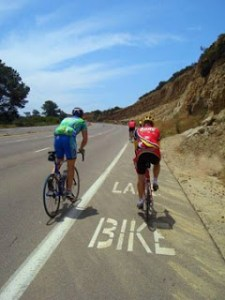 Cyclists on Torrey Pines Hill in San Diego
