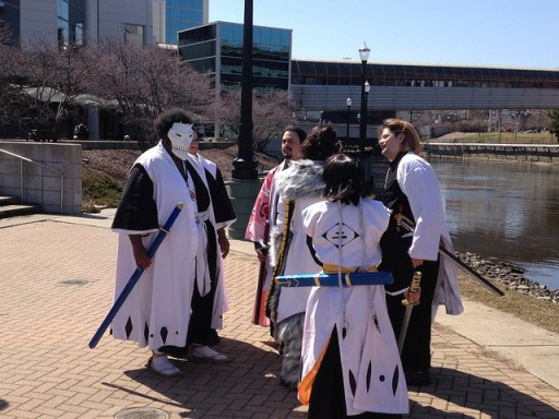 You never know who you'll find along the River Trail: cosplayers at ShutoCon outside the Lansing Center