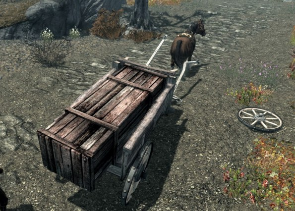 A broken-down cart in Skyrim.