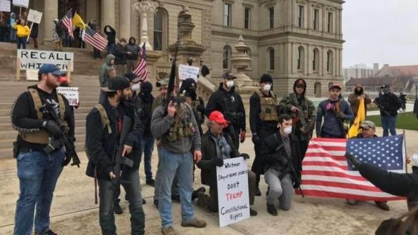 Armed protesters at anti-lockdown demonstration at the Michigan state capitol