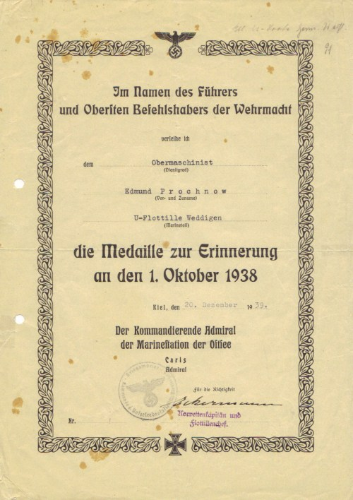 October 1938 medal awarded to all Wehrmacht and SS personnel who were on active duty to commemorate the union of the Sudetenland with Germany on 1 October 1938 and also the later occupation of Czechoslovakia.