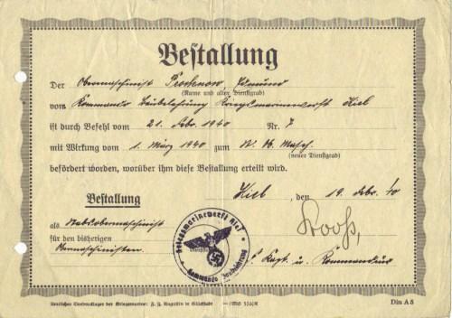 Promotion to Stabsobermaschinisten, 1940.