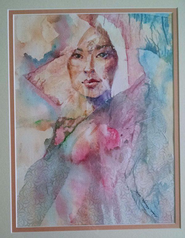 Diane Krempa, Contemplation, collage wc, 20x24, $375