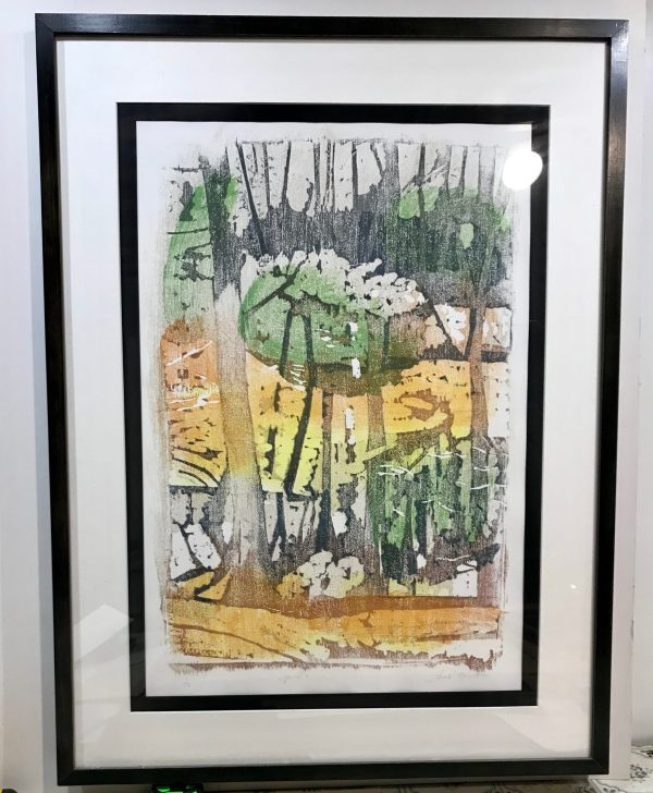 "Gerald Mulka, ""April Reflections"", wood block print, 18x14, $150"