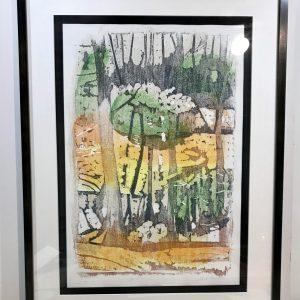 """Gerald Mulka, """"April Reflections"""", wood block print, 18x14, $150"""