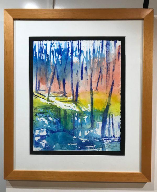 "Gerald Mulka, ""Autumn Reflections"", wood block print, 16x12, $150"