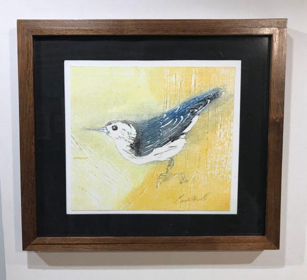"Gerald Mulka, ""White Breasted Nuthatch"", wood block print, 12x12,$75"
