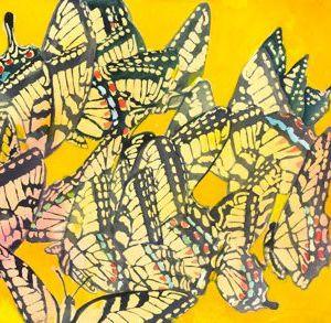 "Sherry Adams Foster, ""Descent of Golden Wings"", watercolor, 24x32,$400"