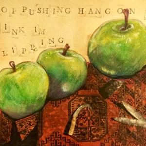 "Linda Logan, ""The Language of Apples"", mm, 16x20, $150"