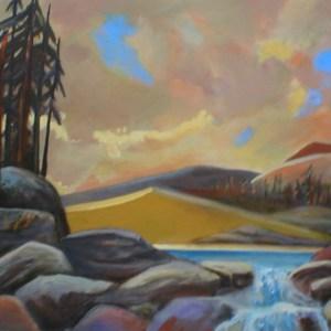 """Gary Van Gorp, """"Mountain Lakes"""", Acrylic, 24 x 36, $280"""