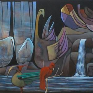 "Gary Van Gorp, ""Waterfall Birdz"", Acrylic, 24 x 36, $300"