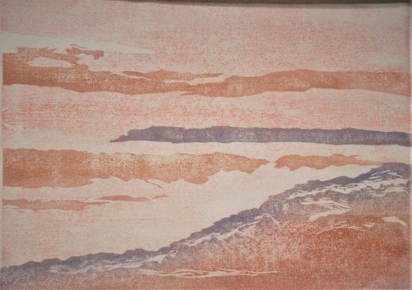 "Gerald Mulka, ""Manitou"", woodblock print,16X20 $150"