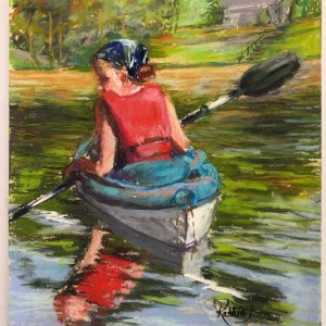 "Kathie Troshynski, ""Morning Kayak"", Pastel, 9 x 12 plus frame, $225"