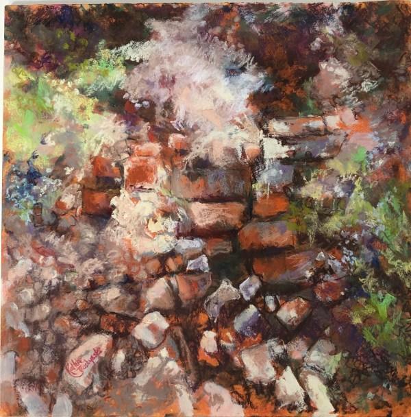 """Kathy Troshynski, """"Brick By Brick"""", Pastel, 25 x 25 plus frame, $375"""