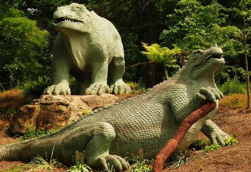 Model Iguanodons at Crystal Palace