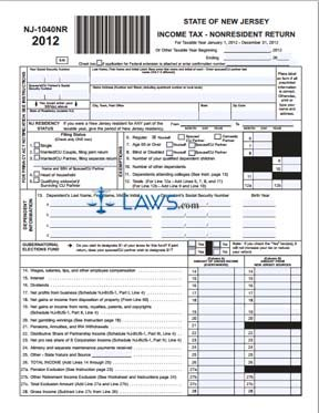 Form Nj Nr Income Tax Nonresident Return