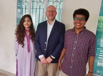 Mohammad Taqi Yasir and Tahsin Kamal Tonima pictured with the Director