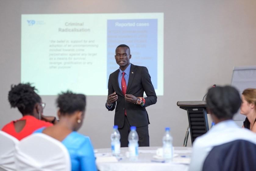 Daniel presenting on Criminal Radicalisation and Ethnic Extremism among South Sudanese refugees in Uganda.