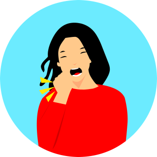 Cartoon woman coughing